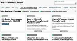 Screenshot of Milwaukee public library's COVID-19 focused portal