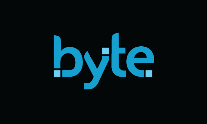 Image of Byte's wordmark, in blue, on a black background