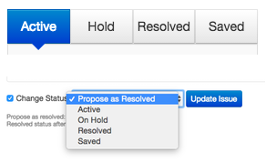 options for status declaration - saying active, hold, resolved, and saved