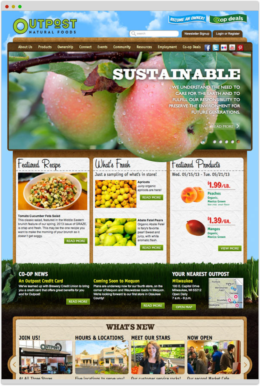 screenshot of Outpost Natural Foods' home page
