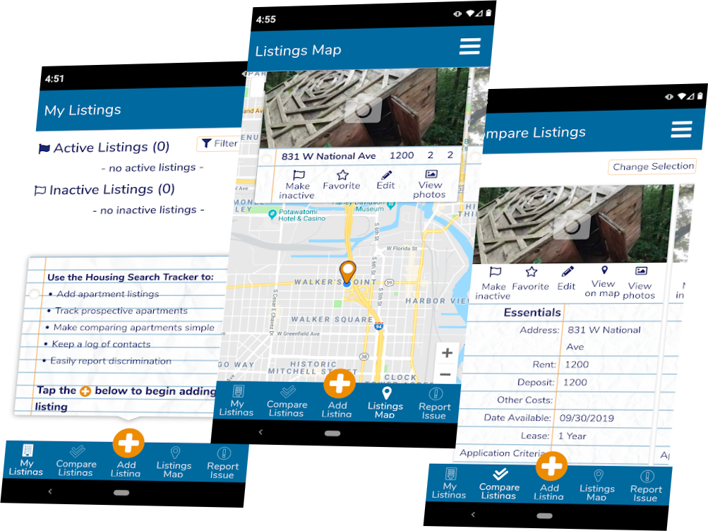 image of a few screens from the FAIR housing app