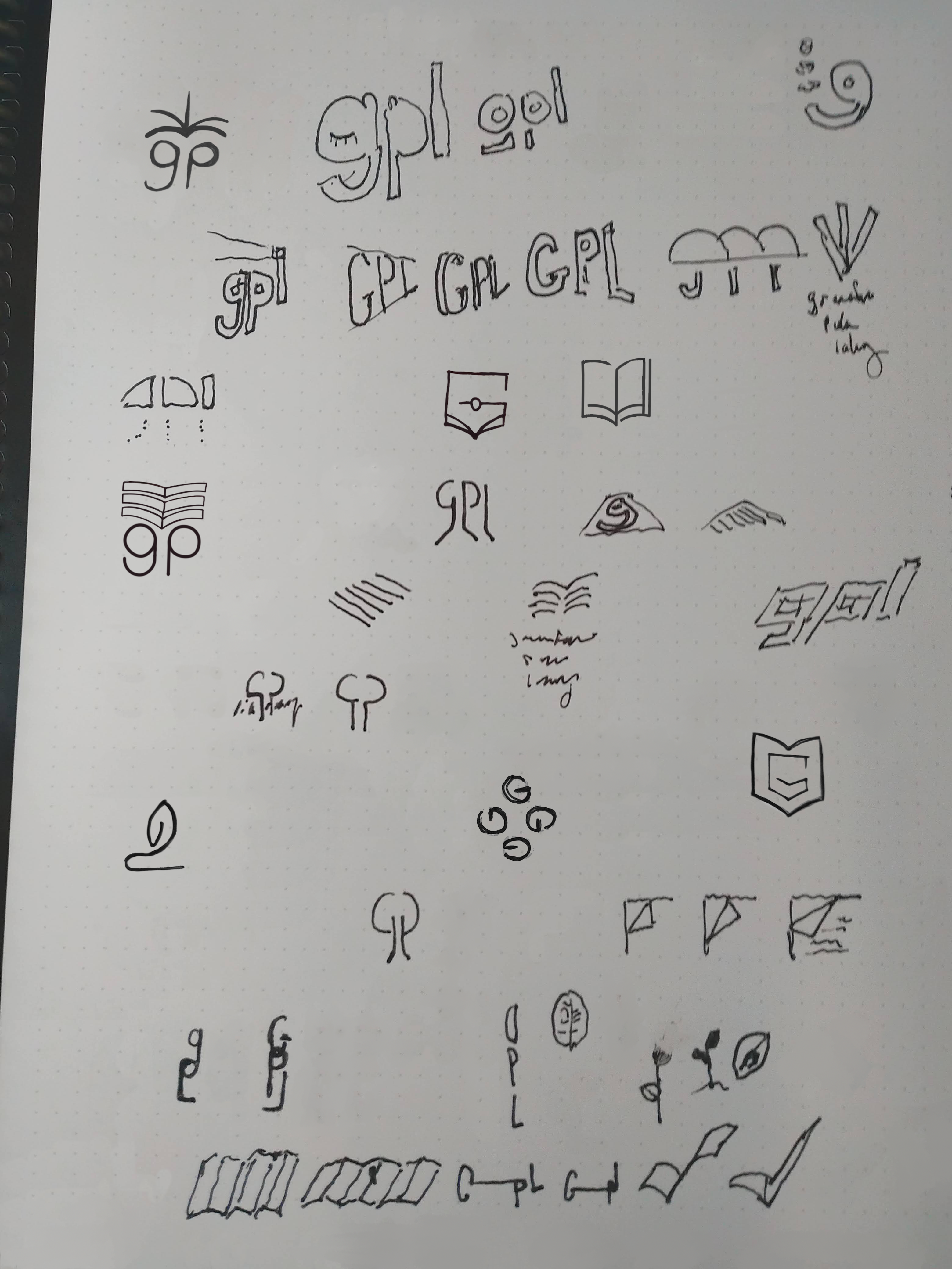 visual of page of illustrated logo early ideas