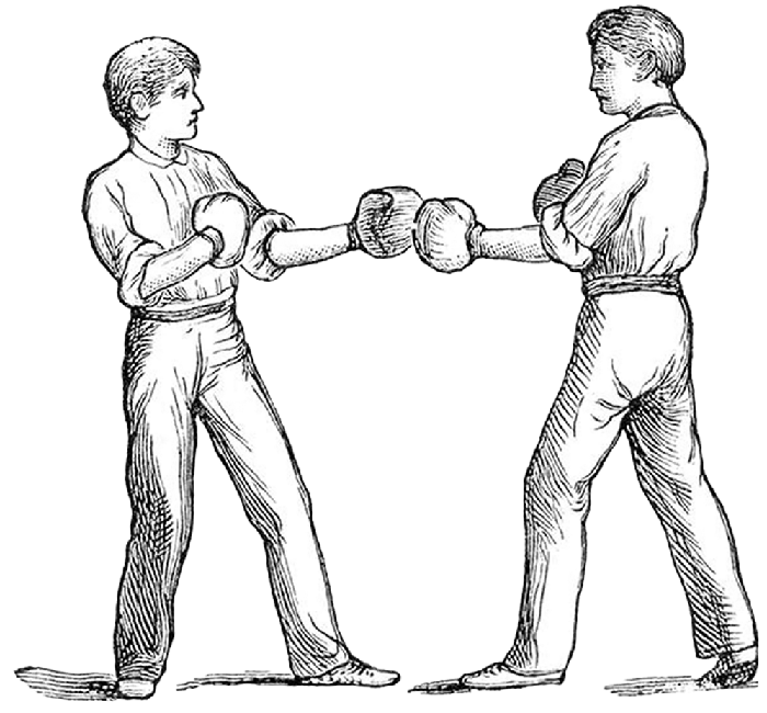 illustrated image of two men about to box
